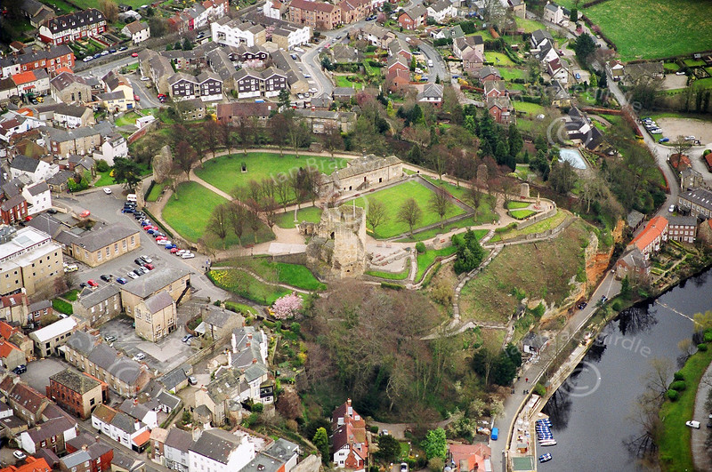 Aerial photo of Knaresborough Castle in Yorkshire.