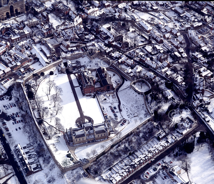 Lincoln Castle in the snow.