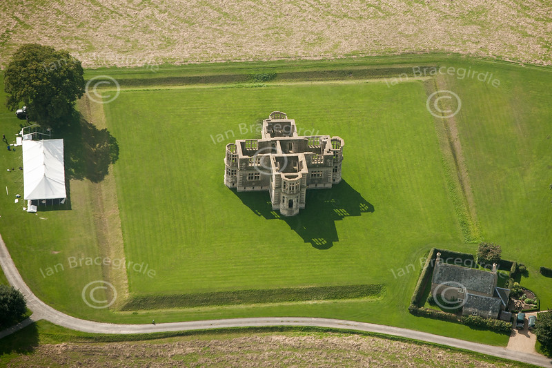 Lyveden New Bield from the air.