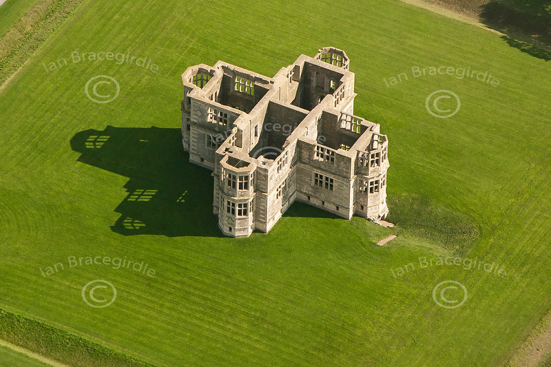 Aerial photos of Lyveden New Bield in Northamptonshire.