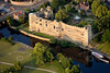 Stock aerial photo of Newark Castle next to the River Trent in Nottinghamshire.