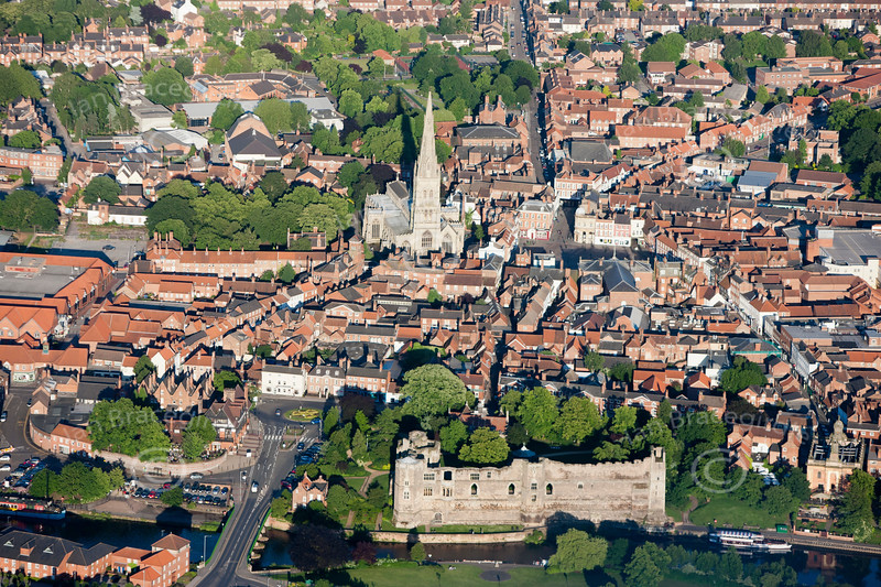 An aerial photo of Newark Castle.
