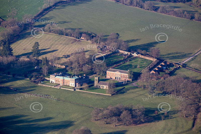 Aerial photo of Okeover Hall.