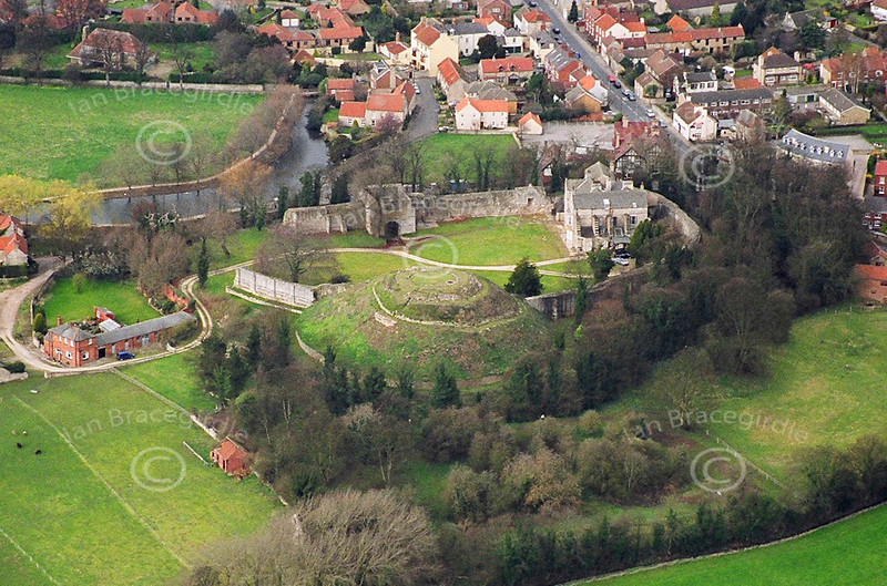 Aerial photo of Pickering Castle in North Yorkshire.