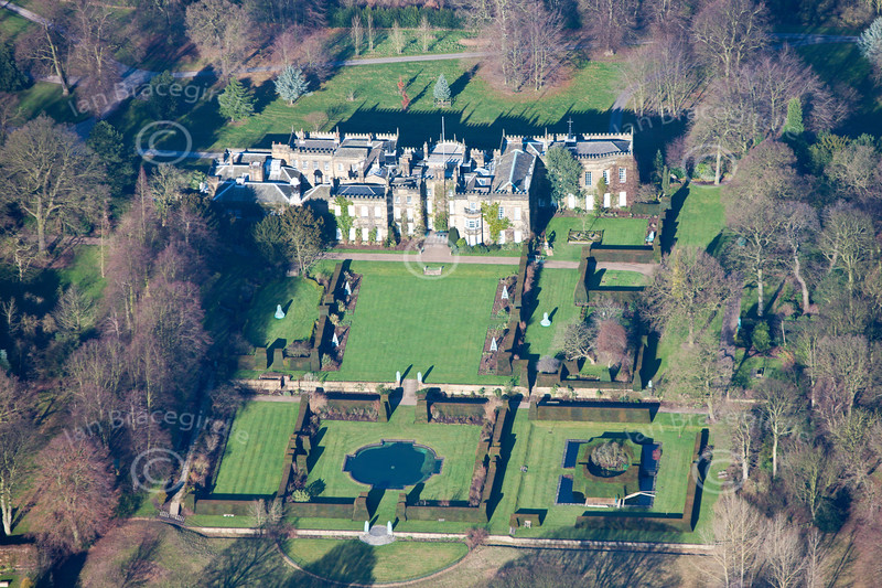 An aerial photo of Renishaw Hall near Eckington in Derbyshire.