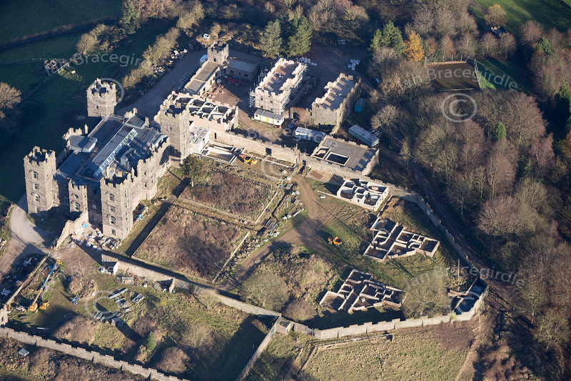 Riber Castle from the air.