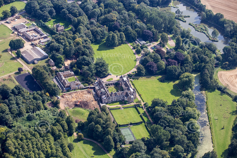 An aerial photo of Rushton Hall in Northamptonshire.