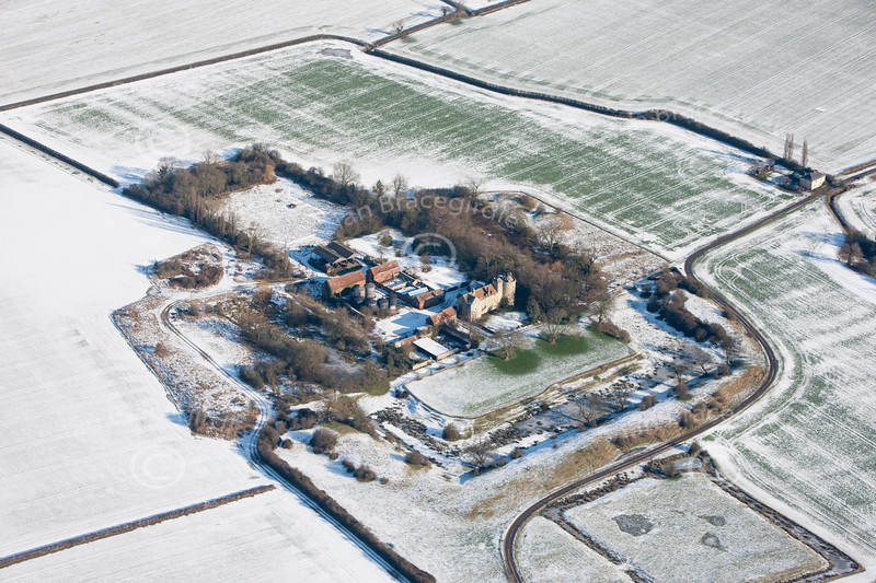 Aerial photo of Somerton Castle near Boothby Graffoe in Lincolnshire.