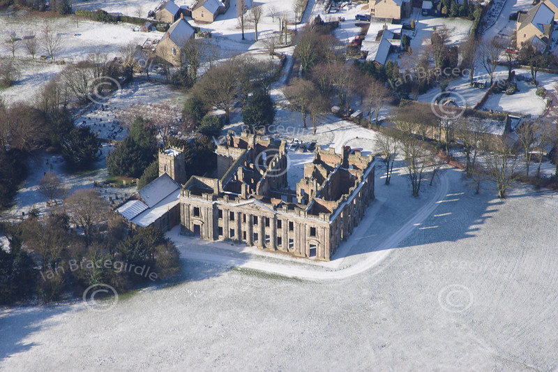 Sutton Scarsdale in the snow from the air.