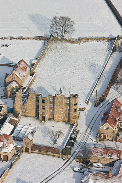 An aerial photo of Thorpe Salvin Hall.