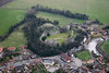 An aerial photo of Tickhill Castle in South Yorkshire.
