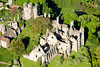 An aerial photo of Wingfield Manor in Derbyshire.