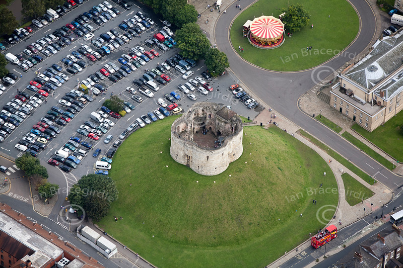 Aerial photo of Clifford's Tower in York.