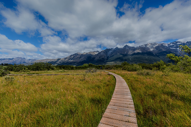 A section of the Glenorchy Board Walk passes over part of the Glenorchy Lagoon, providing views of the mountains surrounding Lake Wakatipu.