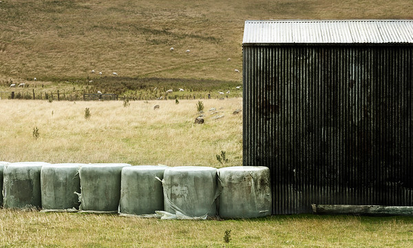 Farm Shed with Hay Bales