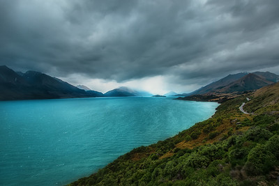 A storm front bring wind and rain passes over the head of Lake Wakatipu, Pigeon and Pig Island in the Queenstown Lakes District, Otago