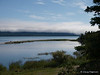 A view of Naknek Lake with a bear resting on the peninsula.  Taken near Brooks Camp and Lodge in the Katmai National Park.