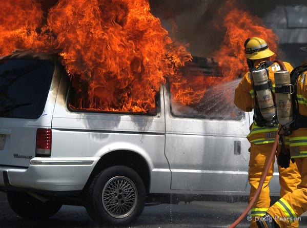 LA County Fire Department, Fire Service Day in Norwalk<br /> Car fire demo