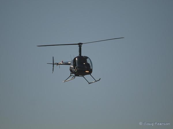 N91AV a Robinson R44 on approach to Hansen Dam for American Heroes Air Show 2012.