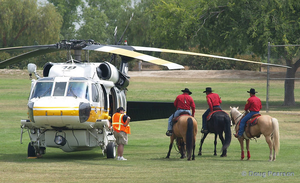 LA County Fire Department Firehawk, Copter 19 being checked out by the Cavalry at the American Heros Airshow June 24, 2006