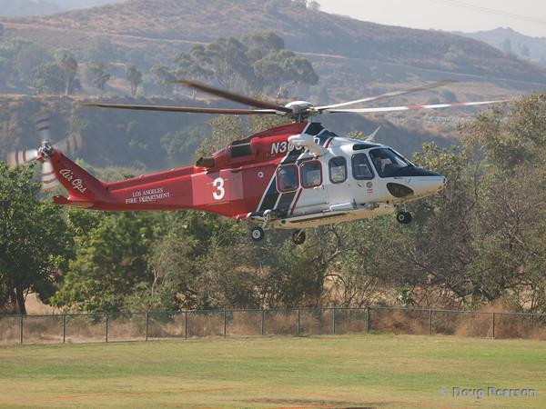 LAFD Fire 3, N303FD an Agusta Spa AW139 arriving at Hansen Dam for American Heroes Air Show 2010