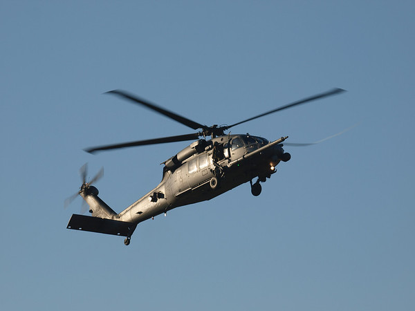 USAF 26115, Sikorsky HH-60G Pave Hawk, c/n 70-1317, an Air National Guard Helicopter from the 129th Rescue Squadron from Moffett Field arrives at Hansen Dam for American Heroes Air Show 2012.