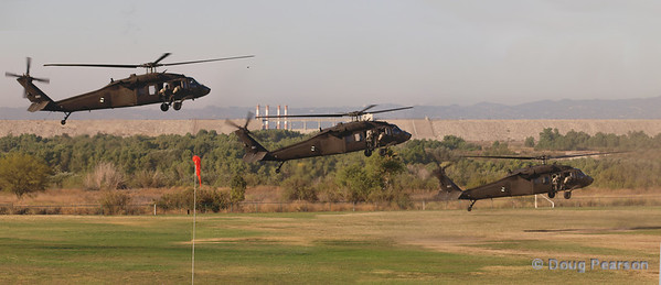 Stacked image of Blackhawk 503 landing at Hansen Dam for American Heroes Air Show 2012.