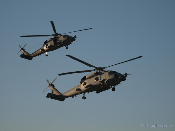 US Navy Seahawks from HSM-41, tail numbers 410 and 420 arriving at Hansen Dam for American Heroes Air Show 2010