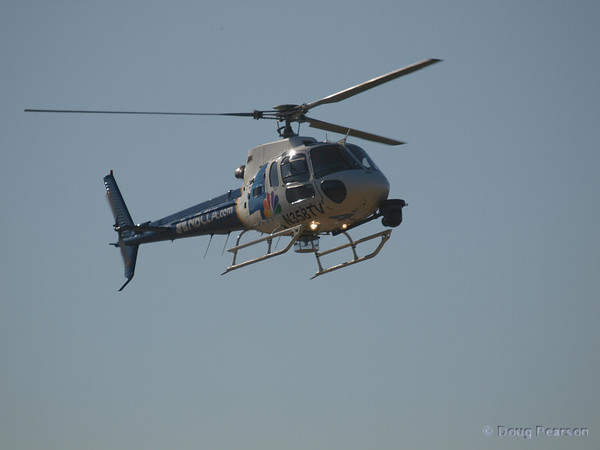 "N358TV, ""Chopper 4"" for KNBC is a Eurocopter AS 350 B2 and is seen approaching Hansen Dam for American Heroes Airshow 2012"