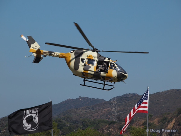 US Army 72161, a Eurocopter UH-72A Lakota helicopter from the National Training Center at Fort Irwin, CA departing American Heroes Airshow 2012