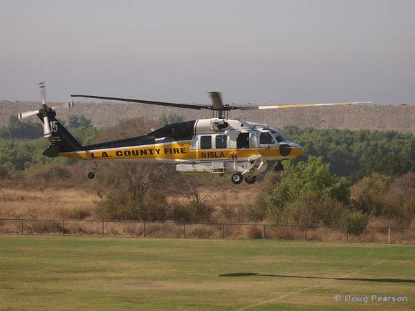 LA County Fire Copter 15, N15LA a Sikorsky Firehawk arriving at Hansen Dam for American Heroes Air Show 2010