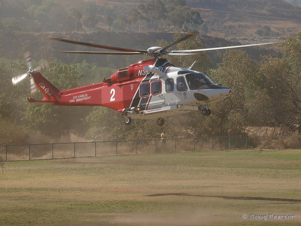 Fire 2 arrives at Hansen Dam