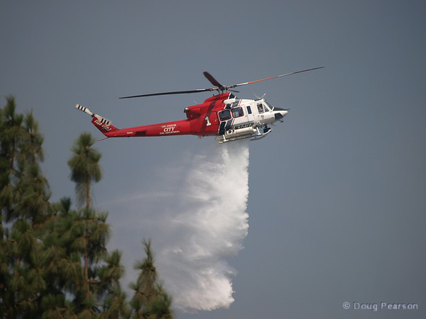 LA City Fire 1 works a Brush fire near Travel Town in Griffith Park, Los Angeles, CA