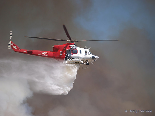 LA City Fire 1, N301FD,  works a Brush fire near Travel Town in Griffith Park, Los Angeles, CA