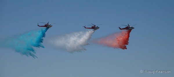 LAFD Helicopters drop colored water at 2009 Heroes Airshow Los Angeles