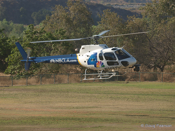 "N358TV, ""Chopper 4"" for KNBC is a Eurocopter AS 350 B2 landing at Hansen Dam for American Heroes Airshow 2012"