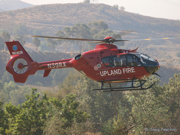 Upland Fire rescue helicopter N39RX arriving at Hansen Dam for American Heroes Air Show 2010