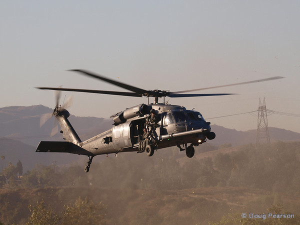 USAF 309 a Sikorsky HH-60G Pave Hawk from 66th Rescue Squadron landing at Hansen Dam for American Heroes Air Show 2012.