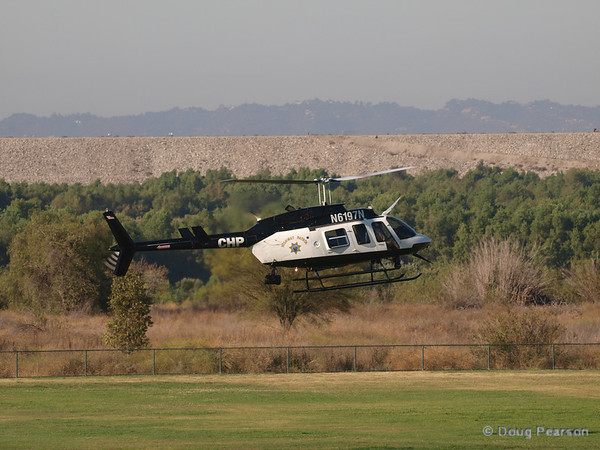 N6197N, Bell 206-L4 used by CHP landing at Hansen Dam for American Heroes Air Show 2012.