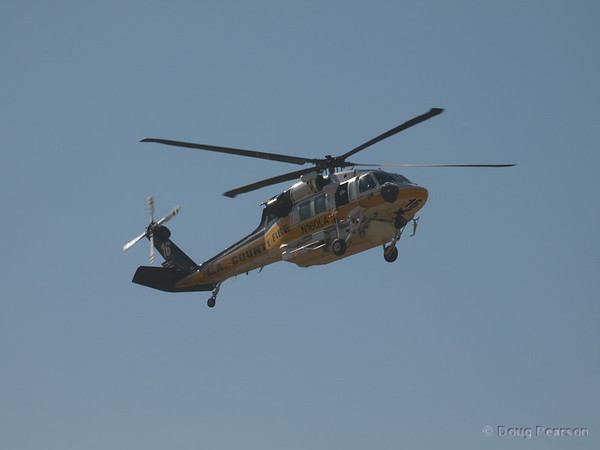 LACoFD Copter 16, N160LA, a Sikorsky S-70A Firehawk arrives at Hansen Dam for American Heroes Airshow 2012.
