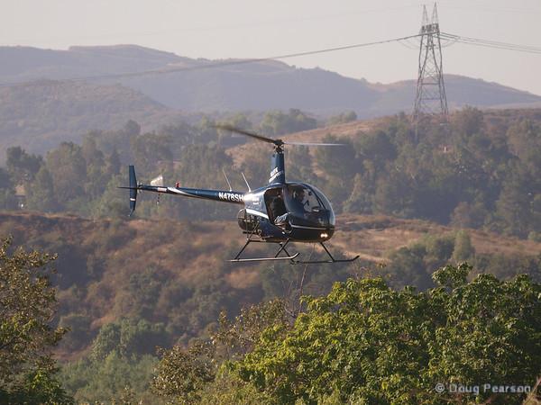 N91AV a Robinson R44 landing at Hansen Dam for American Heroes Air Show 2012.