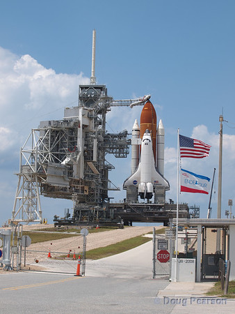Space Shuttle Endeavour on Pad 39A waiting for liftoff.