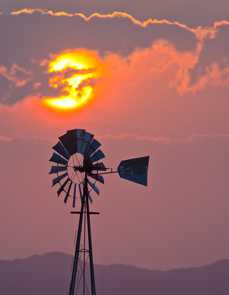 Windmill Orange Sunrise
