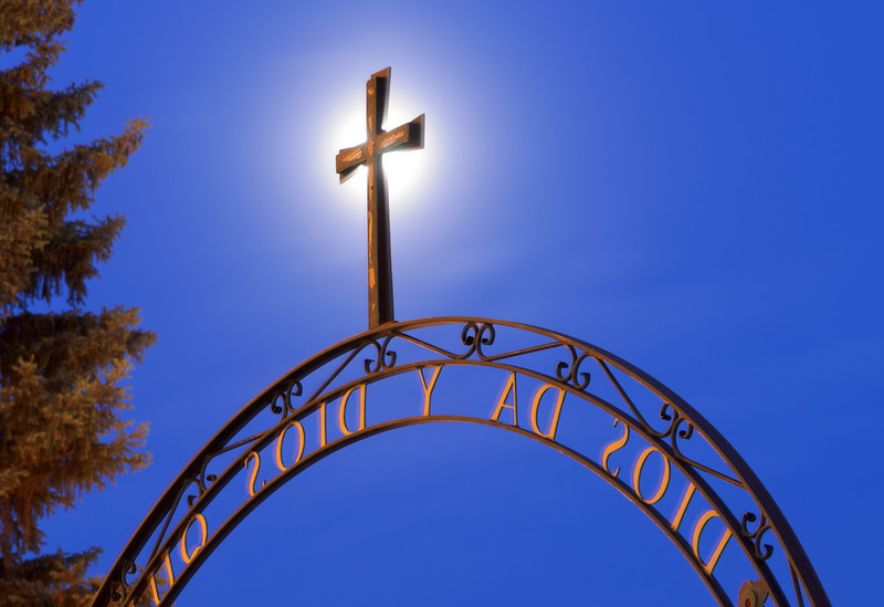 Santa Fe Cross with Full Moon