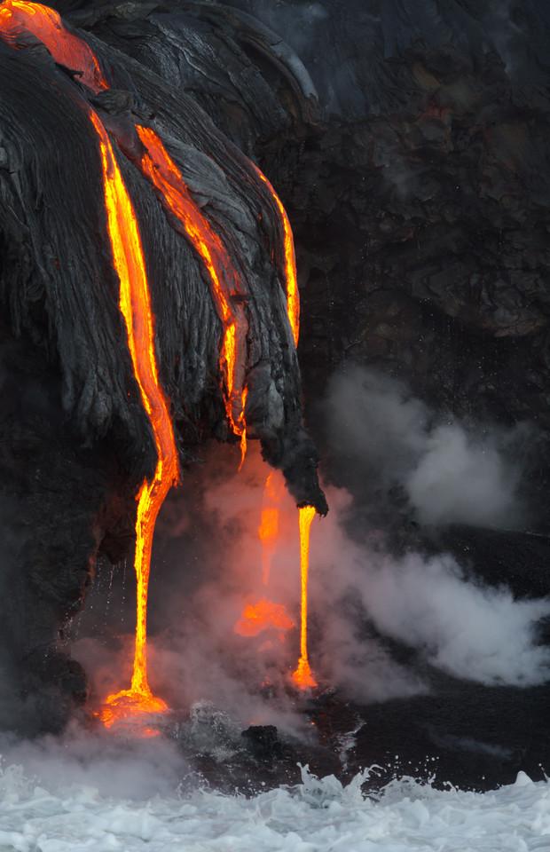 Vertical Lava Drips on Beach