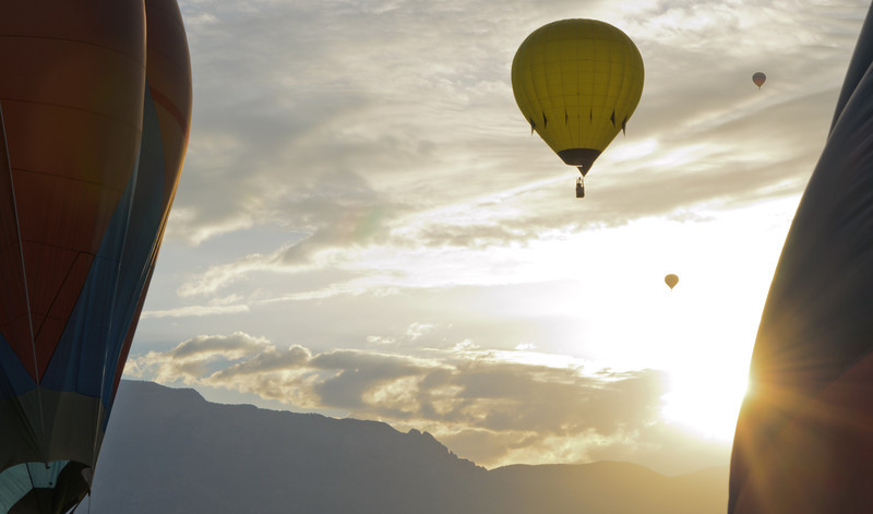 Yellow Balloon Framed Sunrise