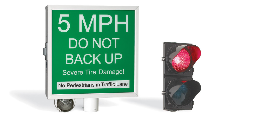 warning sign and red light