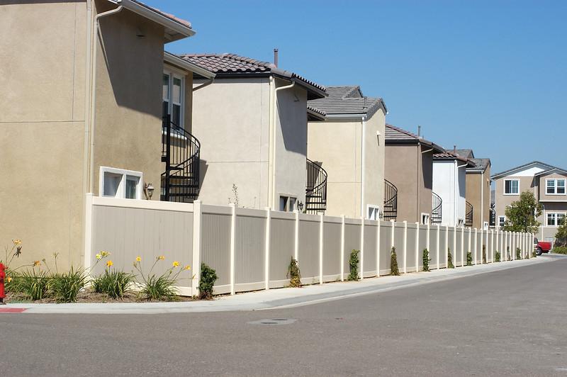 long shot of houses