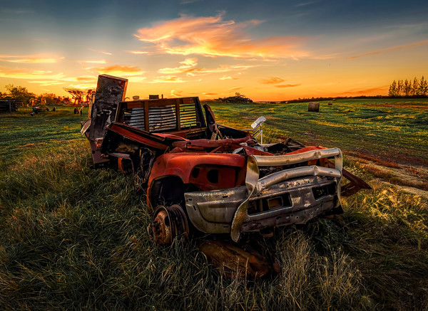 An old Ranch Truck Sunset