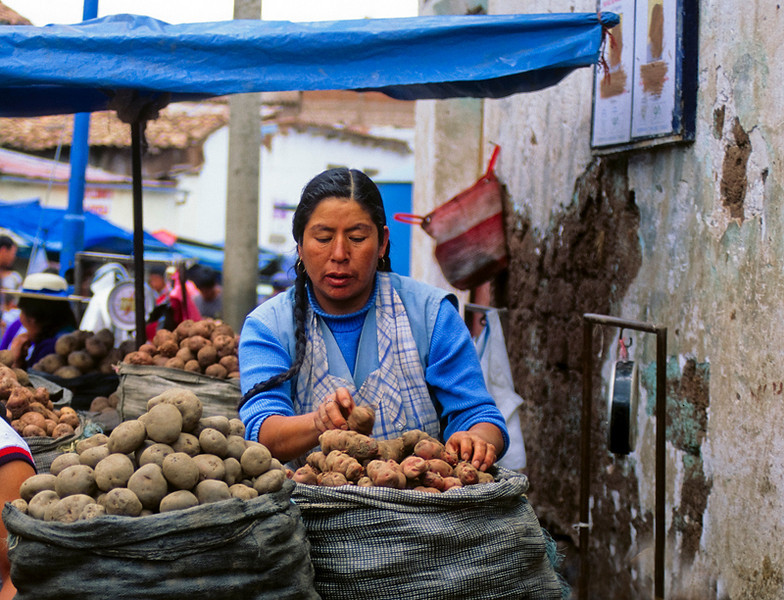 """<p><font size=""""4"""" face=""""Trajan Pro""""> Vendedora de Papas - Cusco</font></p>"""